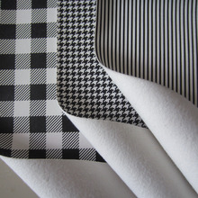 30cm X 138cm mini roll black white stripe pu leather fabric colored leather strips bird pattern plaid pattern BH044