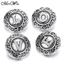 5pcs/lot High Quality Vintage Metal Crystal Alphabet Snap Buttons Jewelry Letters T-Z initial Snap Jewelry(China)