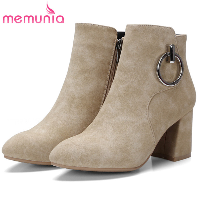 MEMUNIA Pointed toe high heels shoes fashion boots in spring autumn boots female PU nubuck leather ankle boots size 34-42<br>