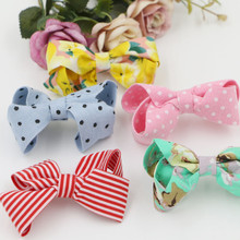 30PCS/Lot Toddler Kids Hair Jewelry Decoration Material Handamde Floral Stirpes Polka Dots Fabric Knot Bow Patch Craft for Decor