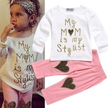 2017 Cute Toddler Girls Heart Pattern Clothing Sets Baby Heart Shirt + Long Pant Kids 2 Pcs Set