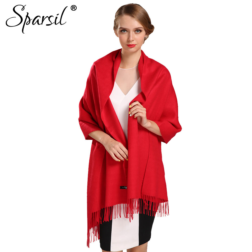 Sparsil Women Winter Cashmere Blend Knitted Scarves Autumn Solid Color Soft Comfortable Tassels Scarf All-Match(China (Mainland))