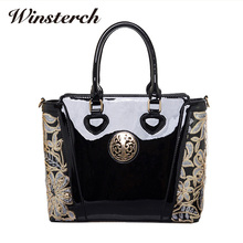 2017 Women's Bag Ladies Luxury Patent Leather Shoulder Bag Flower Printing Black Crossbody Female Clutch Handbag Sac A Main S038