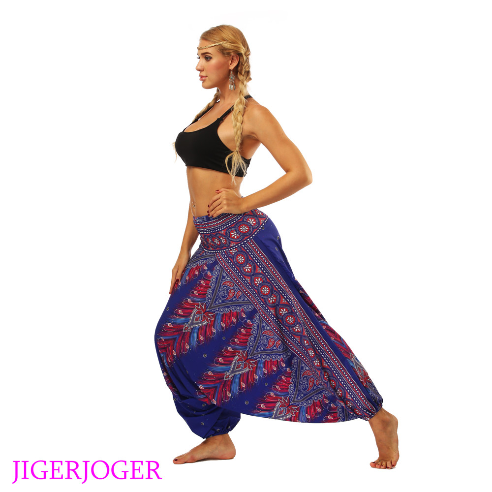 LL010 Red royal blue Aztec Thailand costume printed elastic waistband loose lantern harem pants wide leg legging (4)