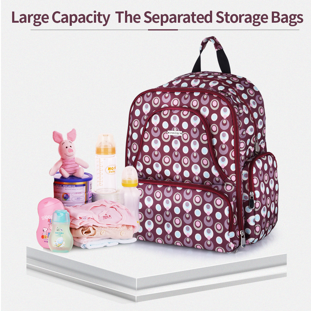 Fashion Multi Functional Large Capacity Double Shoulder Baby Diaper Bag Waterproof Printed Nylon Mommy Backpack Diaper Bag C1068