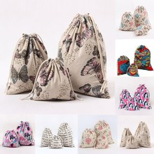 1pcs Flower Butterfly Elephant Drawstring Cotton Linen Storage Candy Bag Jewelry Organizer Makeup Cosmetic Coins keys Bags 49011