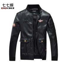 2017 New Spring PU Leather Aviator Jacket Men Air Force one Black Jackets Coat Mens A-2 Pilot Leather Jacket 4XL, MA239