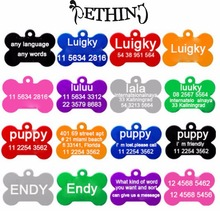 2pcs/lot Aluminum Pet name tag Free Custom Engraved Dog Cat Personalized Luggage Tag bone shapes 8 colors supply(China)