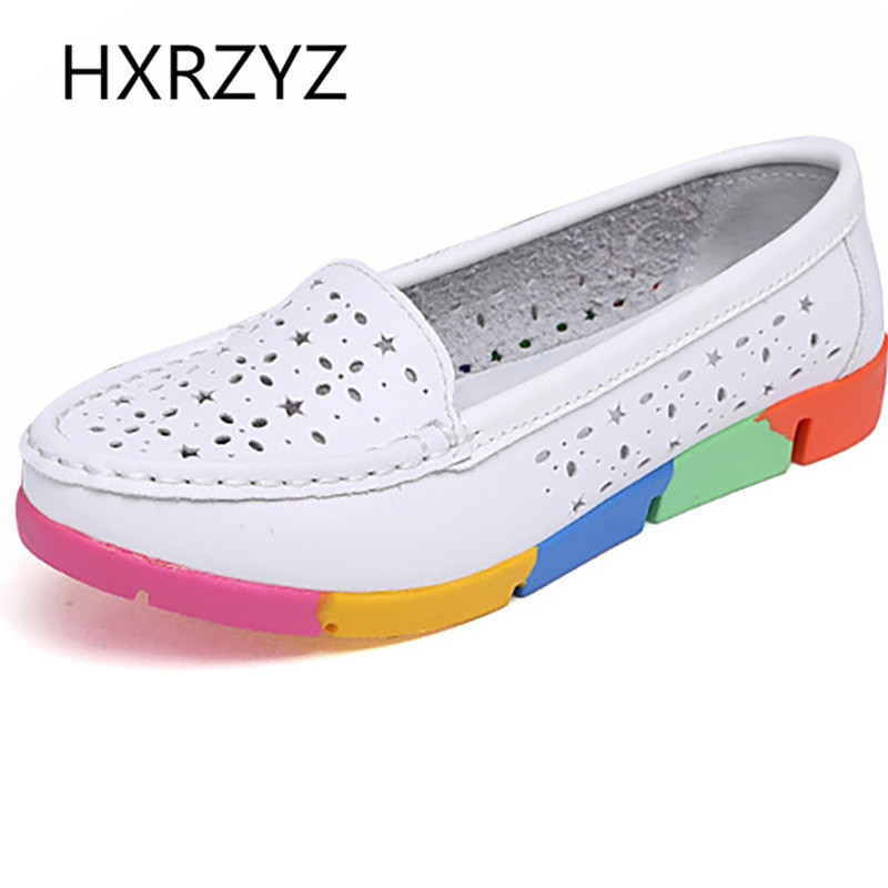 Summer Of Classic Hollow Out PU Soft Leather Casual Flat Shoes Women Round Toe Slip-on Shoes Women Thick Bottom Lazy Shoes<br><br>Aliexpress