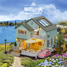Miniature DIY Doll House Wodden Miniatura Dust cover DollHouses Furniture Kit Handmade Toys For Children girl Gift Queens Town