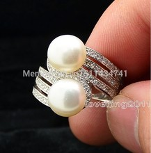 Fashion Jewelry Jewellery Lady's Pearl Gem 5A Zircon stone 925 Sterling silver Wedding Ring Sz 5-10 Free shipping