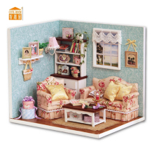 CUTE ROOM Hoomeda Summer Romance DIY Wood Dollhouse Miniature Cute Doll Kits Toys With LED Furniture Cover Girls Gift