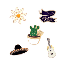 "Fashion Hat Guitar Cactus ""Win my heart"" Flower Enamel Brooch Pins Badge Metal Girls Women Jeans Bag Decoration Brooches Jewelry"