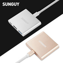 SUNGUY Type C USB 3.1 Hub USB-C to USB 3.0/ HDMI/ Type C Female Charger Adapter for New Macbook  Chromebook Pixel and Other More