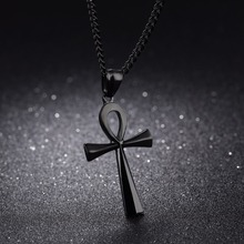 "Meaning ""Life"" Egyptian Ankh Pendants Necklace in Stainless Steel Hieroglyph Jewelry with 22'' Free Chain - Silver, Gold, Black(China)"
