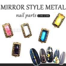 10pcs/lot mirror style square shape metal nail part nails accesories