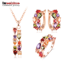 LZESHINE New Top Rose Gold Color Flower Jewelry Set Multicolor Cubic Zircon Pendant/Earrings/Ring Women Wedding Jewelry Sets(China)