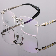 DOWER ME Titanium Rimless Business Hollow out Temple Gold Optical Spectacle Eyewear Reading Eyeglass Frame LB8926