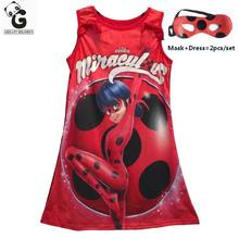 Miraculous Ladybug Girls Dress Kids Party Dress For Girls Brand Princess Dresses Cosplay Costumes Halloween Christmas Marinette(China)