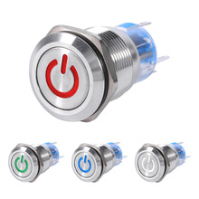 Car Styling19mm 12V LED Waterproof Stainless Car witch Self-locking Latching Push Button Power Switch