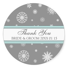 3.8cm Grey Blue Thank You Winter Wedding Favor Tags Classic Round Sticker(China)