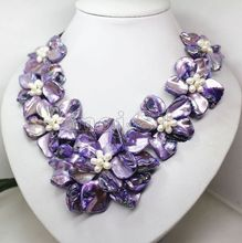 Hot sale new Style >>>>>Handmade 18'' Natural White Rice Freshwater Pearl Purple Shell Flower Necklace
