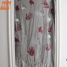 New Halloween Horror Blood Fingerprint Curtain Decoration Items Spooky Zombie Crime Scary Themed Illustration Theater Sets Bar R