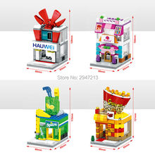 2017 hot compatible LegoINGlys city mini Street View Building blocks Popcorn Famous mobile phone store Drinks Manicure shop toys(China)