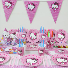 33pcs Kids Birthday Party Decoration Hello kitty Paper napkins+Paper Plates+table cloth for party decoration baby shower favors(China)