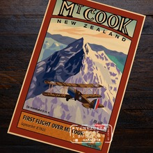 Mt Cook Mount First Flight New Zealand NZ Travel Retro Vintage Poster Decorative DIY Wall Art Home Bar Posters Decor