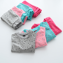 Spring Autumn Clothing Sets Baby Girls Star Pattern Kids O-Neck Hoodies Toddler Cotton Children Polka Dot Pants 6sets/LOT
