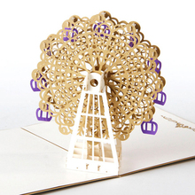 Pink Blue Yellow Purple Orange Gold 15*15CM Papercraft Pop-Up 3D Ferris Wheel Valentine Cards May Love Goes Round And Round