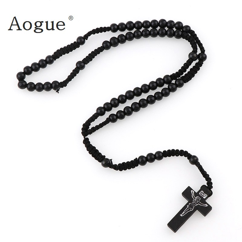 Multi-color Rosary Beads Cross Necklace Pendant for Women Men Girls Jewelry