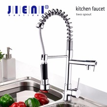 Stock Single lever kitchen faucet with mixer hot and cold water tap pull Down kitchen sink taps(China)