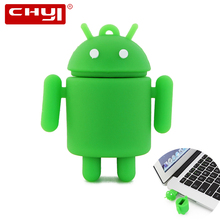 CHYI USB 2.0 Flash Drive Pen Drive Cartoon Green Android Robot Style Flash Disk 4GB 8GB 16GB 32GB 64GB Memory Stick U disk Gifts(China)