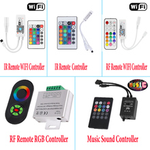 LED WIFI Controller RGB Controler 24Key IR RF Remote Control 5Key 18A RGB Music Sound Light Controller For RGB LED Strip(China)