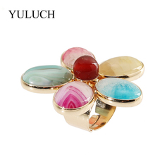 BIG Real Natural Stone Women Fashion HUGE Flower Cocktail Rings YULUCH Jewelry For Sale High Quanlity Lady Gold 47mm Wide(China)