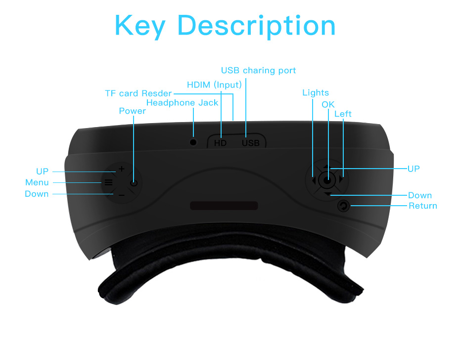 vr headset vr glasses virtual reality for pc HDMI All In One 3d glasses VM02-15
