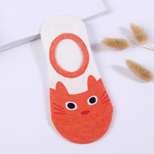 TESSCARA Brand New Fashion Summer Women Footies Sock 5 Pieces Cute Invisible Socks Print Cartoon Cat Boat Lovely For Girl(China)