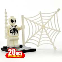 20PCS/lot White Spider Man Mini Dolls Marvel Super Heroes The Amazing Spiderman Figures Block Bricks Gifts Toys for Children