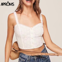 Aproms Elegant Low Back Slim Fit Lace Crochet Camis White Short Tank Tops Streetwear Fashion Crop Top 90s Cool Basic for Womens(China)