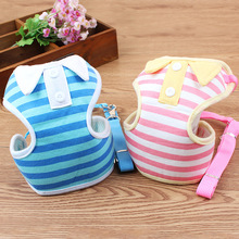 Stripe POLO Shirt Chest Back Clothing Type Pet Tow Rope Dog Chain
