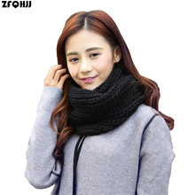 ZFQHJJ 2017 Winter Knitted Infinity Scarf For Women Men Warm Crochet Cable Ring Collar Scarves Boys Girls Solid Neck Scarf