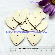 (100pcs/lot) 30mm 2 holes unfinished natural wooden heart cutouts for crafts projects supplies 1 1/4 inches-CT1083A