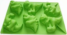 Large 6 Dinosaurs Chocolate Cupcake Cookie Muffin Soap Silicone Mold Kids Gift
