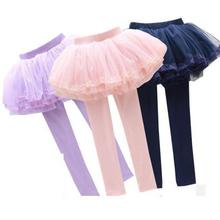 2017 New Baby Girl Leggings With Skirts Autumn Girls Lace Pants Ruffle Pants Solid Children Trousers Skirts Leggings 12 13 14 T(China)