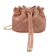 Adjustable Casual Vintage Women Drawstring PU Leather Mini Barrel Bag Chain Shoulder Crossbod Messenger Bag(China)