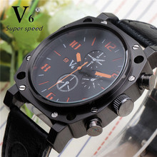 Top Brand V6 Best Casual Collection Men Sport Quartz Watch Black Silicone Analog Stylish Punk Dial Clock Army Military Watches