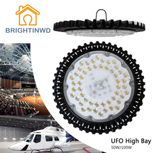 BRIGHTINWD 220V-240V 50W 100W High Power UFO LED High Bay Light IP40 SMD2835 LED Chip High Brightness For Warehouse Lighting