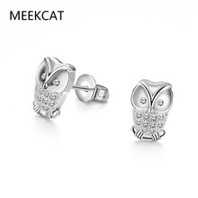 MEEKCAT Cute White Gold Stud Earrings Owl For Women Passarinho Decorativo Earring Aros Oreja Errings For Girls Bijoux En Solde